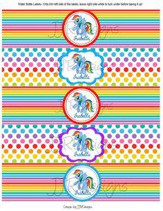 Rainbow Dash Inspired Water Bottle Label Water por JJRDesigns