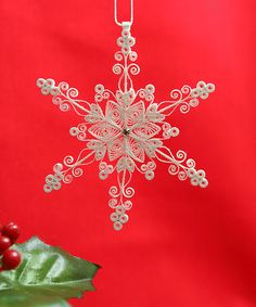 """Stunning Stellar Dendrite Snowflake - White Quilled / Filigree """"Laced in Air Snowflake"""" - Christmas Holiday Tree Ornament. $17.50, via Etsy."""