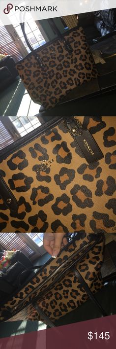 Authentic Coach cheetah bag Used a few good condition ! I will take reasonable offers 😬 Coach Bags Totes