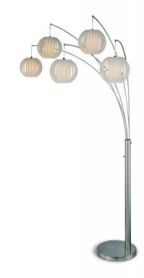 DEION 5-lite arc floor lamp with white pleated vinyl shades and polished steel body. The heavy metal base ensures stability and the 5 vinyl heads give a cool and enlighten look. Max 60W bulbs.Also available in 3-lite version.