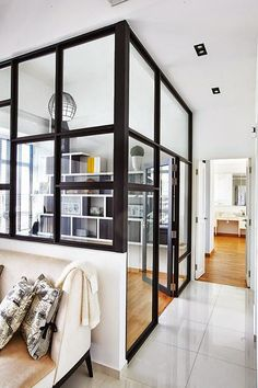 There's nothing as sleek as a glass partition. They're often used in office spaces, but totally appropriate for the home, too! Check out these glass partitions perfect for dividing a room in your home. For more interior ideas, go to Domino. Interior Design Trends, Interior Inspiration, Interior Decorating, Decorating Ideas, Interior Exterior, Home Interior, Interior Architecture, Exterior Doors, Office Wall Decor