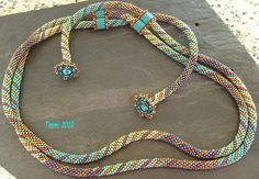 bead crochet with crystals peyoted on end