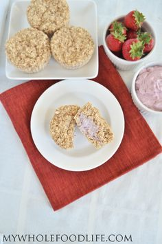 Strawberry Oatmeal Muffins.  Oat muffins filled with a strawberry cream!  My kids loved these!  #vegan #glutenfree #breakfast
