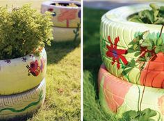 Painted tires for the garden.