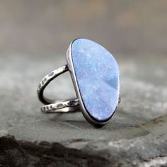 Boulder Opal Ring - Sterling Silver Ring - October Birthstone - Raw Blue Opal Gemstone Ring - Statement Ring - Rustic Engagement Ring