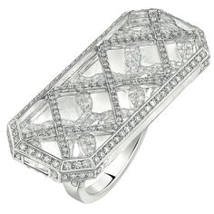 Smoking Ring from CafeSociety Chanel FineJewelry collection in 18K white gold set with 405 BrilliantCut Diamonds (2.1 cts) and carved rock crystal - July