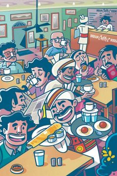 Indian Coffee House -Chronicles over a coffee:This is one of my personal illustration projects, where I wanted to capture the colloquial feel and the ambiance of the place.' India Coffee House ' has its own charm when it comes to its retro interiors, a… Cartoon Drawings, Cartoon Art, Art Drawings, Indian Illustration, Graphic Design Illustration, Graphic Illustrations, Car Illustration, Disney Tapete, Bengali Art