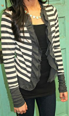 Striped frilly sweater...cute way to add a little something to your sweater