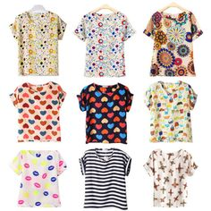 Free Shipping Women Girl Lady Vogue Printed Batwing Tops Chiffon T-Shirt Dress Shirts Blouses