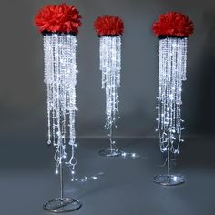 This one-of-a-kind Dripping with Diamonds Stand is an amazing accent for a diamond, formal, or ballroom Prom theme!Dripping with Diamonds Stand Kit - High x Diameter - Includes 1 StandDecorating Fabrics Now has tons of great ways to help your next bi How To Make Diy, How To Make Light, Wedding Centerpieces, Wedding Decorations, Feather Centerpieces, Diamond Decorations, Centrepieces, Wedding Columns, Diamond Party