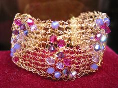 Crystal and Wire Knitted Bracelet Kit  Purple /Gold Mix by Mahliqa, £18.00