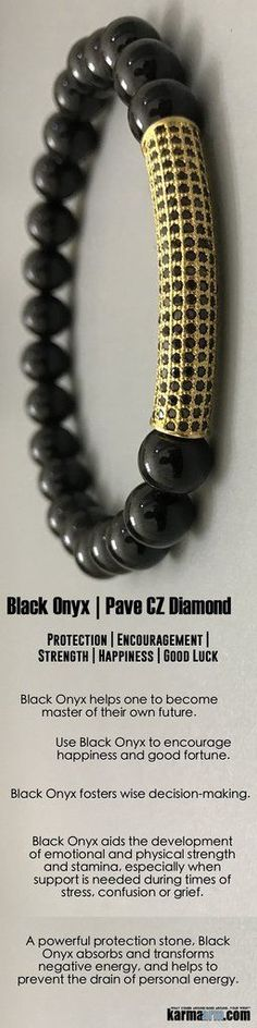 Use Black Onyx to encourage #happiness and good fortune. #Black #Onyx helps one to become master of their own future. It is a strength-giving stone and can provide support for self-discipline issues. #pave #gold #diamond. #Love #Beaded #Bracelet #Yoga #Chakra #Mala #Stretch #Meditation #handmade #Jewelry #Energy #Healing #gratitude #gifts #Crystals #Stacks #pulseiras #Bijoux #Handmade #Reiki #Mala #Buddhist #Charm #Mens #Womens #For #Her #Him….#
