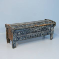 Antique Original Blue Painted Carved Trunk, Romania circa 1840 | From a unique collection of antique and modern trunks and luggage at https://www.1stdibs.com/furniture/more-furniture-collectibles/trunks-luggage/