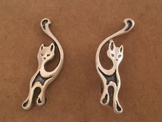 Vintage Sterling Silver Kitty Cat Pussy Earrings by OmisBlessings on Etsy