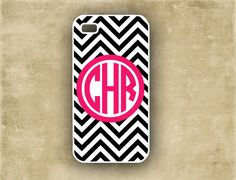 Chevron iPhone cover - Monogrammed Iphone 5 case, Iphone 4 case,  Black white chevron with hot pink monogram iphone case (9725). $16.99, via Etsy.