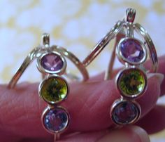 Amethyst Peridot & Topaz 925 Sterling Silver Earrings Lock Back Posts Modernist #QVCorHSN #DropDangle