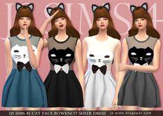 Cat Face Bowknot Sheer Dress at JS Sims 4 • Sims 4 Updates