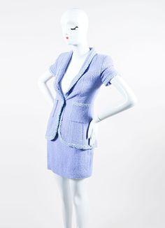 Periwinkle Metallic Chanel Tweed Sequin Trim Short Sleeve Skirt Suit