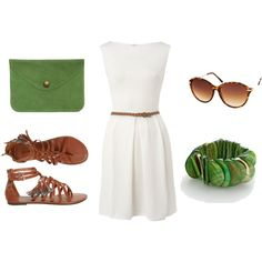 """LOVE this dress... lose the belt, make it a bit longer, and the flats, for me, need to be less """"gladiator"""" and more simple. But the green clutch and bracelet are to die for!"""