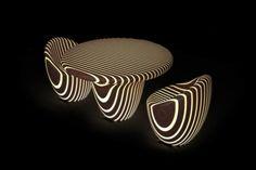 Die LED Möbel besitzen eine organische Form