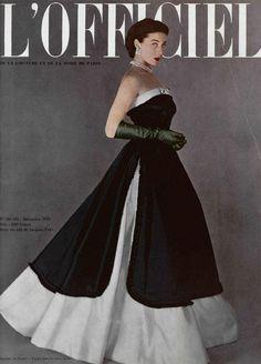Model wearing a black and white Jacques Fath evening gown for L'Officiel De La Mode, 1950.