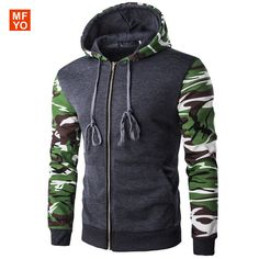Men's Hoodie Fashion Casual Pullover Sudadera Hombre Camouflage Splicing  Hooded Winter Casual Jackts Men Sweatshirts XXL