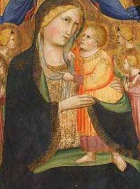 Agnolo Gaddi - Madonna col bambino, angeli e i santi Andrea e Lorenzo - 1390 ca. - tempera e oro su tavola - destinato all'Oratorio di Santa Caterina delle Ruote - Bagno a Ripoli - ora è in deposito alla Galleria degli Uffizi a Firenze