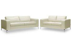 Baxton Studio Lazenby Cream Leather Modern Sofa Set | Wholesale Interiors