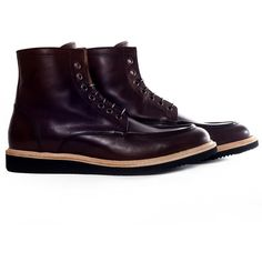 ES99 - Men's dark brown lace up boots with light weight wedge sole