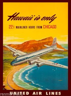 Hawaii from Chicago United States Amerca Travel Advertisement Art Poster  in Art, Art from Dealers & Resellers, Posters | eBay