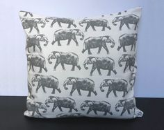 100% cotton grey and ivory elephant repeated pattern cushion by NaturallyHandmadee
