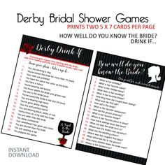 Kentucky Derby Bridal Shower - Derby Bridal Shower - Games - Drink If - How Well Do You Know The Bride? - Instant Download