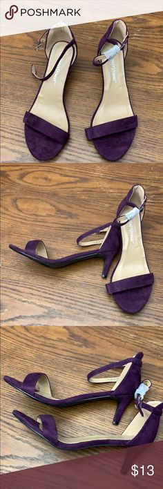 9fb34b127e1 Ashley Stewart short suede heel Open toe WIDE SHOE 3 inches height Never  worn Adjustable buckle