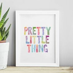 Pretty Little Thing watercolor typography print http://www.amazon.com/dp/B01ARWW66Q motivationmonday print inspirational black white poster motivational quote inspiring gratitude word art bedroom beauty happiness success motivate inspire