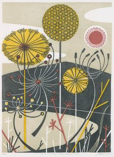 Loch with Dandelions~Angie Lewin  Linocut