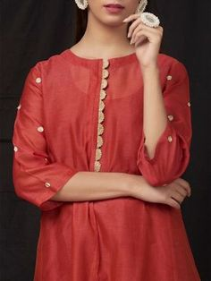 The Loom- An online Shop for Exclusive Handcrafted products comprising of Apparel, Sarees, Jewelry, Footwears & Home decor. Neck Designs For Suits, Neckline Designs, Designs For Dresses, Dress Neck Designs, Blouse Designs, Pakistani Fashion Casual, Pakistani Dresses Casual, Pakistani Dress Design, Kurta Designs Women