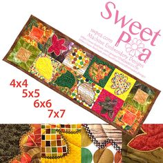 Autumn quilt block and table runner 4x4 5x5 6x6 7x7 hoop | Sweet Pea Machine Embroidery Designs