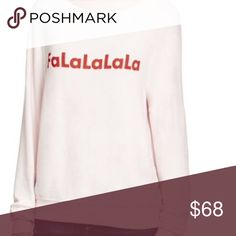 WILDFOX | Slouchy Jumper Wildfox Falalalala top. Perfect for the holidays! Slouchy jumper style. Light pink with red writing so so so soft! ❤️ Oversized fit so size down one size than your usual if you want a more true to size fit 👍🏻 Wildfox Tops