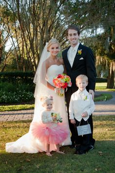 Coral Flower-girl Tutu  - Coral Bouquet - Outdoor Florida Wedding - Laura Ross Photography