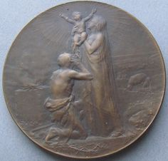 Antique French Religious Art Medal O Crux Ave Spes Unica Signed Dupre  THIS is a remarkable piece from our private collection by the master artist Georges DUPRE 1869-1909. Religious French art medal features Our Lord and Savior as an Infant held aloft by the Most Blessed Virgin Mary. Saint Joseph kisses his feet, a bed of thorns below them. A burning altar is to one side, a field of sheep to the other. Signed G. Dupre.  The reverse of this treasure depicts Saint John barely clothed in furs…