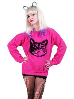 "Women's ""Cat"" Sweatshirt by Rockin' Bones (Pink/Black) #InkedShop #cat #sweatshirt #sweater #style"