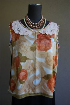 Vintage scarf satin blouse by Rustyeggwhisk on Etsy, $40.00