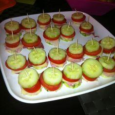 housewarming party ideas | Cucumber tomato cheese and meat sandwiches. Housewarming party ideas.