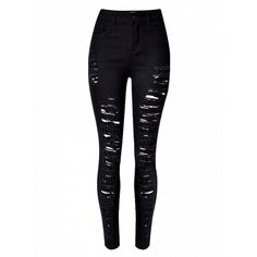 Choies Black Extreme Ripped Skinny Jeans ($32) ❤ liked on Polyvore featuring jeans, black, destructed jeans, cut skinny jeans, skinny fit jeans, distressing jeans and destroyed skinny jeans