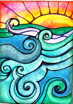 Winsor and Newton watercolor and Sakura ink on 140 lb paper Silk Painting, Painting & Drawing, Hippie Painting, Wal Art, Surf Art, Ocean Art, Whimsical Art, Elementary Art, Rock Art