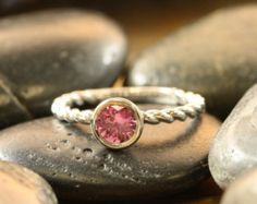 Bezel Set Natural Pink Sapphire Engagement Ring 14k White Gold Solitaire Ring Wedding Bridal Ring (Other Metals & Stones Available)