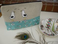 Large Handmade Cosmetic Bag Washbag Seagull Beach Design waterproof inner gift | eBay