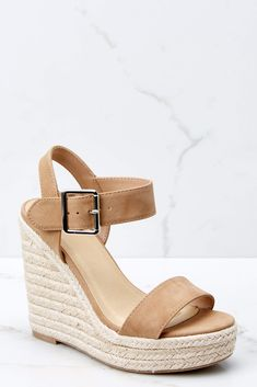 83d54dcbe Sexy Beige Sandal Wedges - Vegan Leather Platform Wedges - Shoes -  36 –  Red Dress