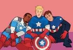 The Three Captains - Sam Wilson, Steve Rogers, and Bucky Barnes