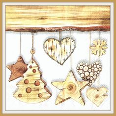PAPER napkins for DECOUPAGE - CHRISTMAS Wooden Heart Star Tree C073 by VintageNapkins on Etsy